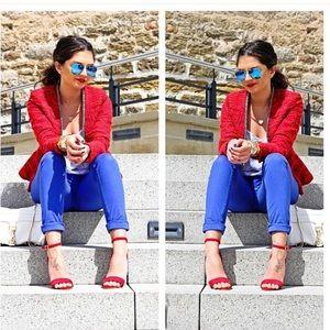 Zara Tweed Red Blazer